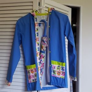 Child's owl rain jacket with hood,matching umbrell